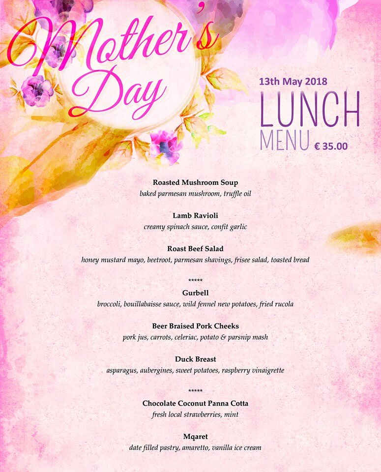 Mother's Day Lunch Menu